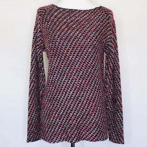 Zara Knit Chunky Red Black Pullover Sweater